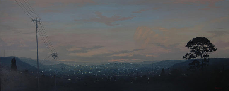 Outskirts Hill view II, 2009, Acrylic on board