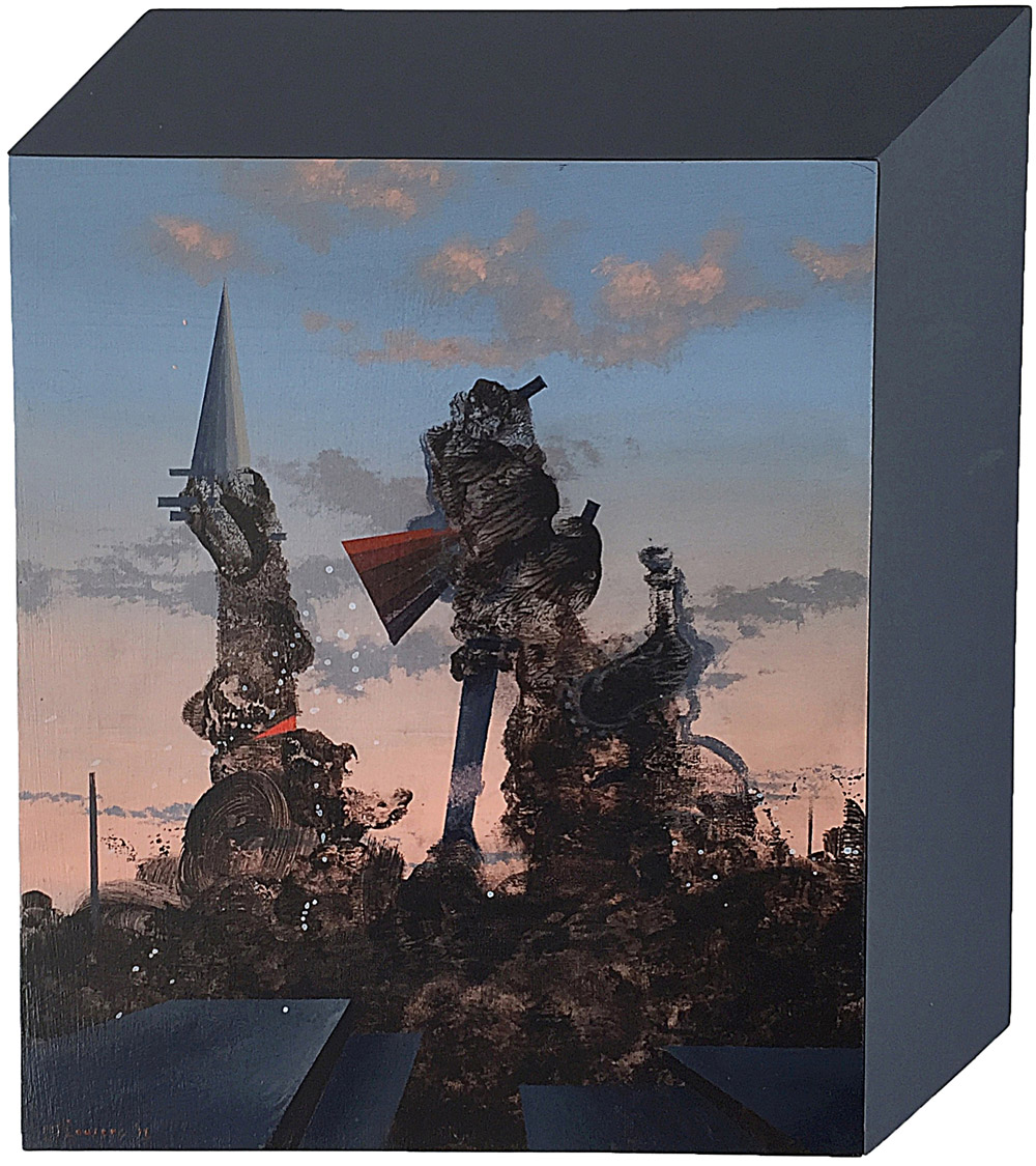 MJ Lourens, ​St George and the giant (Study), 2016, Acrylic on board, 40 x 35cm